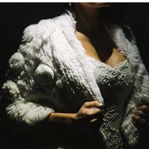Jackets & Blazers - White Rabbit Fur Bolero Scarf W/ Flower / Wedding